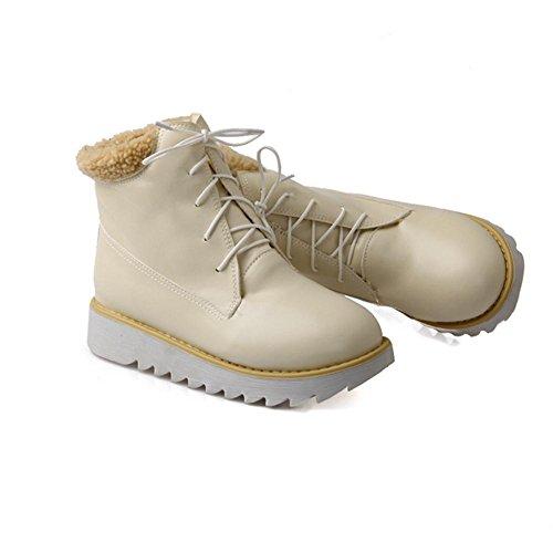 H HDonna in inverno (rosa, beige, blu) davanti a pizzo con scarpe da neve in gomma anti-skid usura , Beige , 39