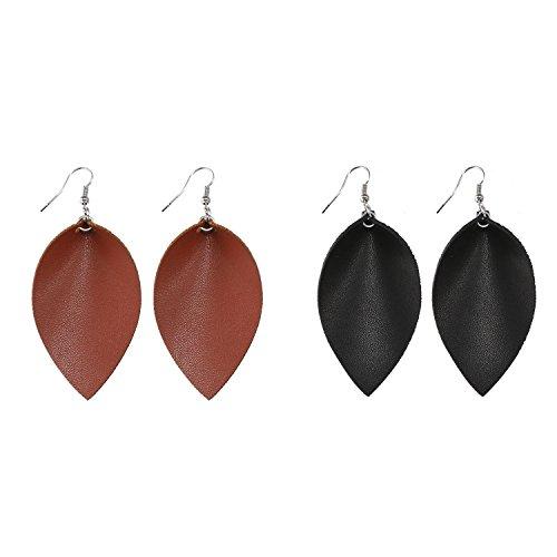 (Women Faux Leather Teardrop Earrings Leaf Shape Earrings (Brown+Black))