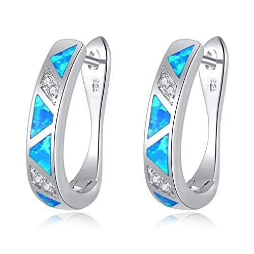 CiNily Blue Fire Opal Zircon Huggie Hoop Earrings White Gold Plated Women Jewelry Gemstone Earrings 20mm