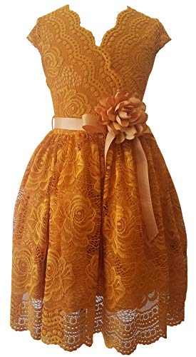 Flower Girl Dress Curly V-Neck Rose Embroidery AllOver for Little Girl Mustard 4 JKS.2066