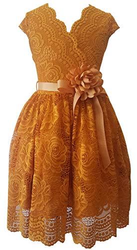 Flower Girl Dress Curly V-Neck Rose Embroidery AllOver for Little Girl Mustard 6 JKS.2066
