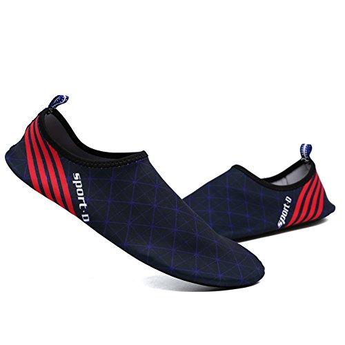 Scarpe Da Acqua A Righe, Wingbind A Piedi Nudi Scarpe Da Acqua Scarpe Da Spiaggia Acquagym Acqua Diving Surf Nuotare Piscina Ocean Scarpe Per Donna Uomo Unisex Blu