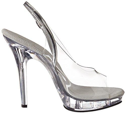 Pleaser Lip-150 - Sandalias con correa de tobillo Mujer Clr-Slv/Clr