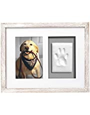 Pearhead Pawprint Keepsake Picture Frame and Clay Impression Kit, Pet Owner Gift, Distressed Gray