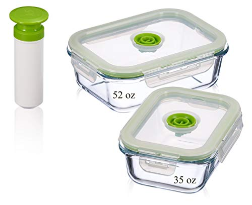 - Vacuum Seal Food Storage Containers - Deep Freezer Food Storage - Hand Held Vacuum Food System - Quick Marinator - Large - Rectangle - 5Pc - Green