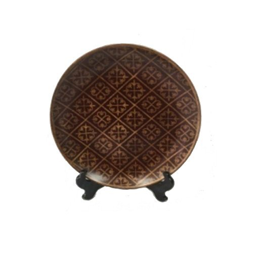 - PMJC Company Burgundy Porcelain Plate with Hand Painted Gold Pattern Plus Wooden Stand, 10