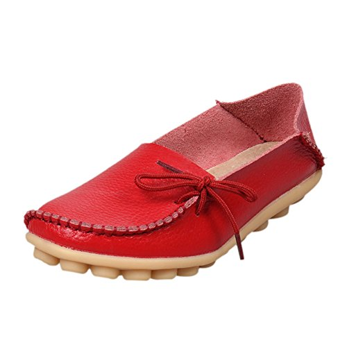 Womens Cowhide Leather Lace Up Casual Loafers Moccasins Driving Flat Shoes Red 7wNEiEZW