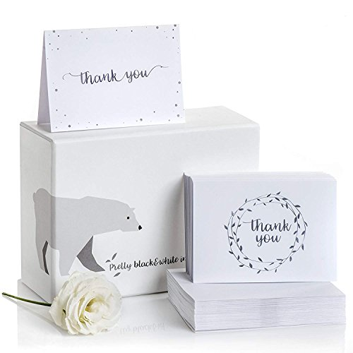 Thank You Cards Set of 100 - 2 Designs of Blank Thank You Notes and Self-Seal Envelopes - Stationary Set to Give Thanks for Wedding, Bridal Shower, Funeral, Professional, Any Occasion by Alice & Ben