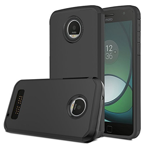 Moto Z Play Case, Venoro [Shockproof] Slim Hybrid Dual Layer Armor Defender Rugged Protective Case Cover for Motorola Moto Z Play/Moto Z Play Droid (Black) (Best Moto Z Case)