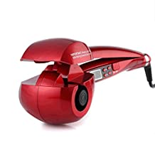 LCD Professional Automatic Wave Hair Curling Curler Roller Iron Wand Machine Set Accessories (Red)