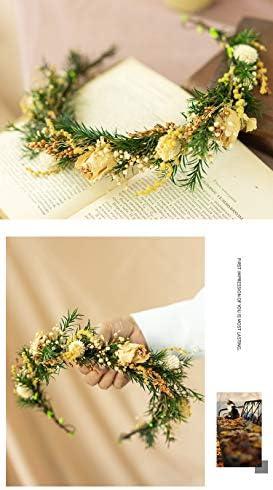 手つくり ヘッドドレス 造花 花冠 花かんむり 森ガール風髪飾り カチューシャ ヘアアクセサリー パールティアラ 入学式 卒業式 結婚式 パーティー舞台 イベント (イエロー・緑風)