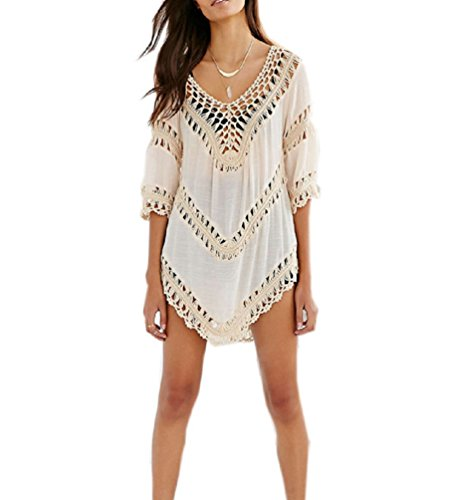Nicetage Women's Fashion Swimwear Crochet Tunic Cover Up/Beach Dress (Beige)