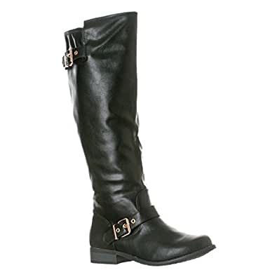 Riverberry Women's 'Mia-01' Smooth Knee-High Low Heel Riding Boots, Black, 6