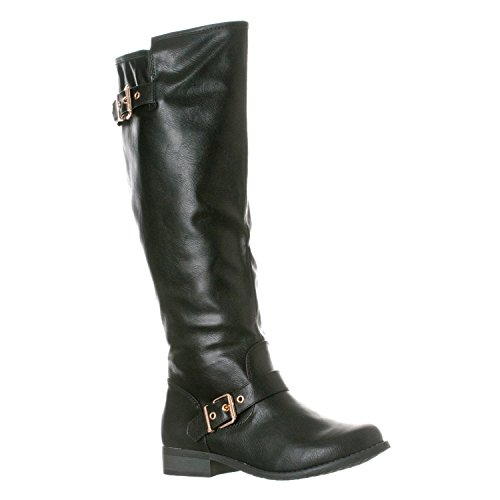 Riverberry Women's Mia Knee-High, Low Heel Riding Boots, Black, 6