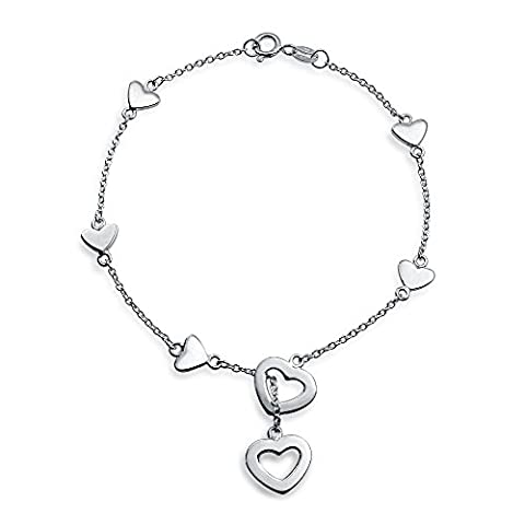 Bling Jewelry 925 Sterling Silver Heart Charm Lariat Bracelet 7in