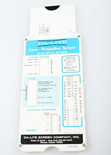 DA LITE LENS, MOVIE, PROJECTION SCREEN & MORE CALCULATOR 1966 VINTAGE from Da-Lite
