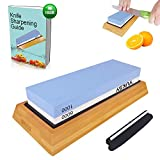 Premium Knife Sharpening Stone Kit, 2 Side 1000 & 6000 Grit Whetstone, Kitchen Blade Sharpener Stone, Non-Slip Bamboo Base & Bonus Angle Guide Included for Chef, Kitchen, Pocket Knife by YUKSY