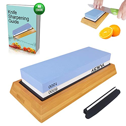 Premium Knife Sharpening Stone Kit, 2 Side 1000/6000 Grit Whetstone, Best Kitchen Blade Sharpener Stone, Non-Slip Bamboo Base & BONUS Angle Guide Included for Chef, Kitchen, Pocket Knife by YUKSY