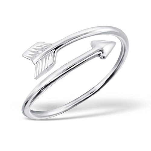 Liara - Arrow Plain Ring Sterling Silver 925. Polished And Nickel - Children Ring Plain