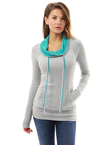 PattyBoutik-Womens-Drawstring-Cowl-Neck-Raglan-Blouse-Light-Gray-and-Turquoise-S