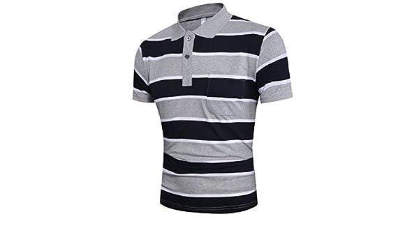UUGYE Mens tee Lapel Casual Short Sleeve Stripe Print Golf Polo ...