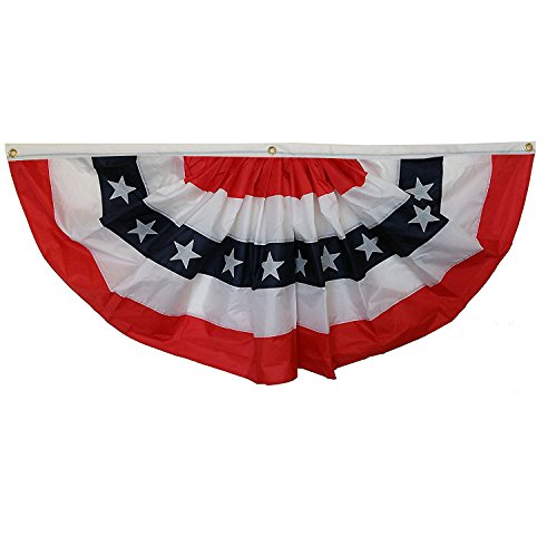 GiftWrap Etc. Patriotic Bunting Banner American Flag - 3' x 6' Pleated Fan Flag, Memorial Day, 4th of July, Veteran's Day, USA Red White Blue Outdoor Décor