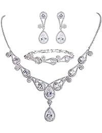 Women's CZ Lots Hollow-out Teardrop Necklace Earrings Bracelet Set Silver-Tone