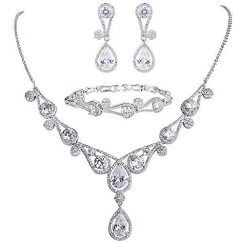 EVER FAITH Women's CZ Lots Hollow-Out Teardrop Necklace Earrings Bracelet Set Clear Silver-Tone