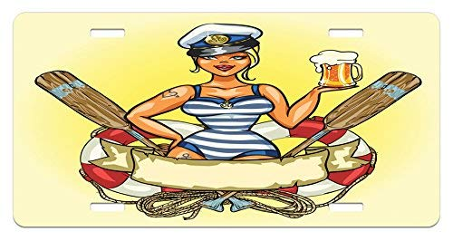 Iliogine Girls Pin-Up Sexy Sailor Girl Lifebuoy with Captain Hat and Costume Glass of Beer Feminine License Plate Frame Car Tag Border for Men Women Car Garadge Decor -