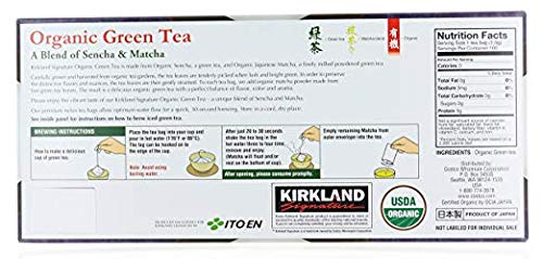 Kirkland Signature Organic Japanese Green Tea, A Blend of Sencha & Matcha 100 bags 0.05 Oz/1.5g per bag by