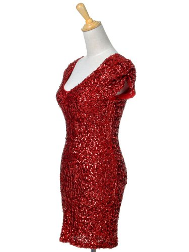Anna-Kaci Frauen Sparkly Glitzer Pailletten Kurzarm V-Ausschnitt Bodycon Cocktail Mini Party Kleid