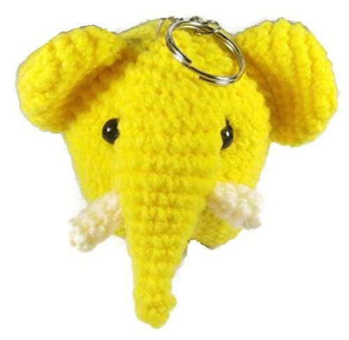 Chic Cute 2 in 1 Hand Knit Keychain Doll, Yellow Elephant Animal (Scottish Girl Halloween Costume)