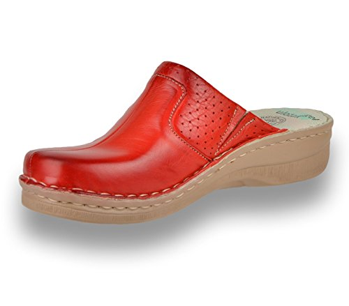 LEON 360 Komfortschuhe Lederschuhe Pantolette Clog Damen, Rot, EU 38