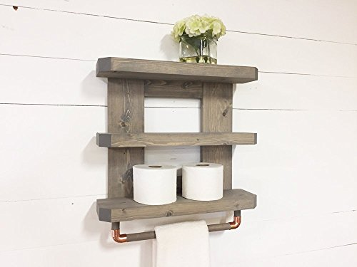 amazon com rustic wooden bathroom shelf towel rack rod by