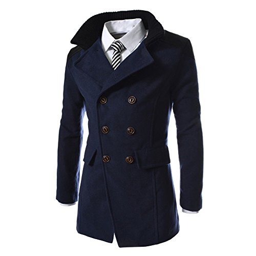 RAISINGTOP Men's Wool Coats Double Breasted Trench Long Pea Coat Winter Warm Thicken Outerwear Jacket ()