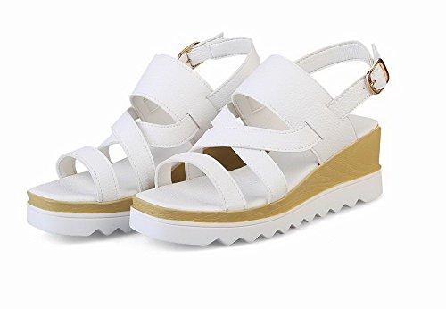 Open Sandals Pu Women's VogueZone009 Heels Buckle Kitten Toe Solid White CCALP014064 5PAWR8