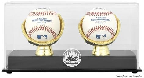 [New York Mets Gold Glove Double Baseball Logo Display Case] (Mets Display Cases)
