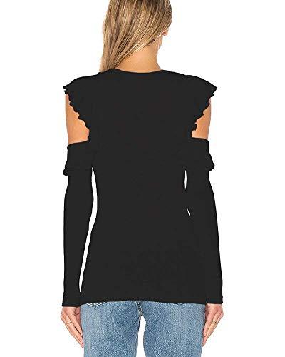 Con Lunghe Tinta Scoperte Spalle Donna T Maniche Da Girocollo Schwarz Casual Adelina shirt Camicetta Unita Abbigliamento nv6gwpI