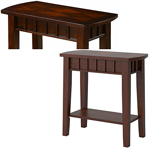 Amazon.com: Espresso End Table Shelf Small Narrow with Pattern Top
