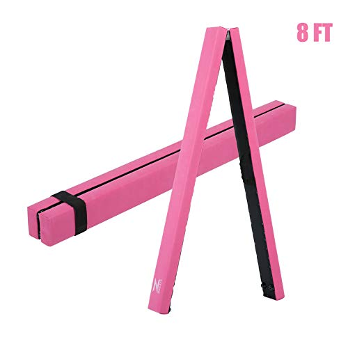 ZELUS 8'/9.5' Folding Gymnastics Balance Beam, Floor Balance Beam w/Carry Handles Anti-Slip Base for Kids, Beginners & Professional Gymnasts (8Ft, Pink(with Bag))