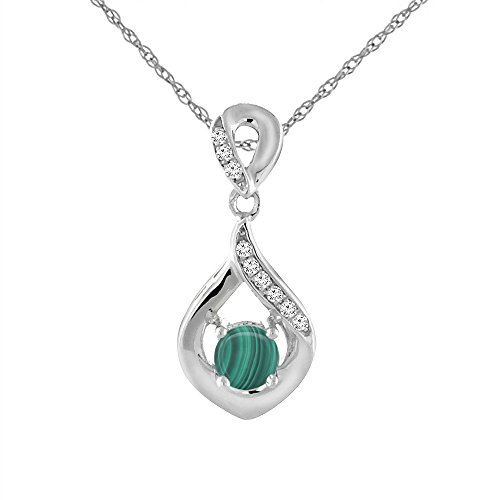14K White Gold Natural Malachite Necklace with Diamond Accents Round 4 mm