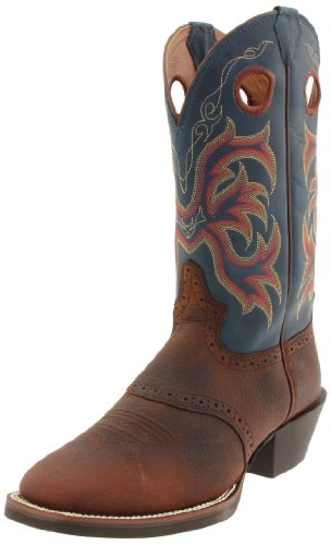 """Justin Boots Men's Stampede Collection 12"""" Punchy Boot Wide Square Double Stitch Toe,Dark Brown Rawhide/Blue Jean Dusty Cowhide,11 D US"""