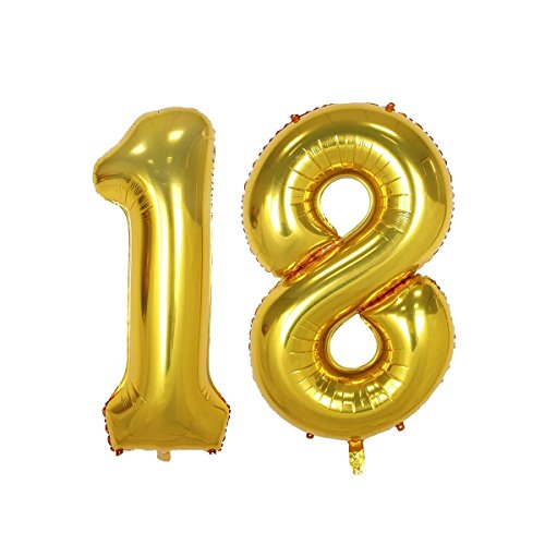 40inch Gold 18th Number balloon for Birthday Party Festival Decorations Jumbo foil helium balloons party supplies use them as Props for Photos (40inch gold number 18)