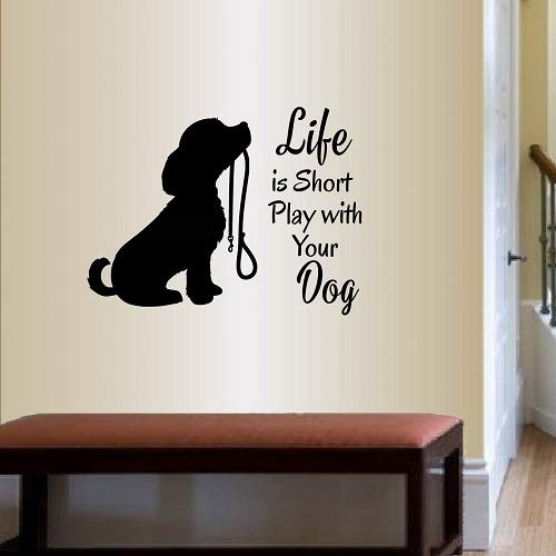 In-Style Decals Wall Vinyl Decal Home Decor Art Sticker Life is Short Play with Your Dog Phrase Quote Lettering Cute Cocker Spaniel Dog Puppy Leash Bedroom Nursery Pet Shop Room Removable Design 725