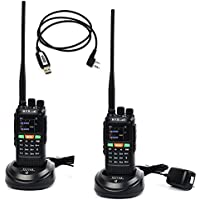HYS 10W GPS Handheld Ham Radio 136-174Mhz&400-520 Mhz Long Distance Walkie Talkie Transceiver With USB Cable and Software (2 Packs))