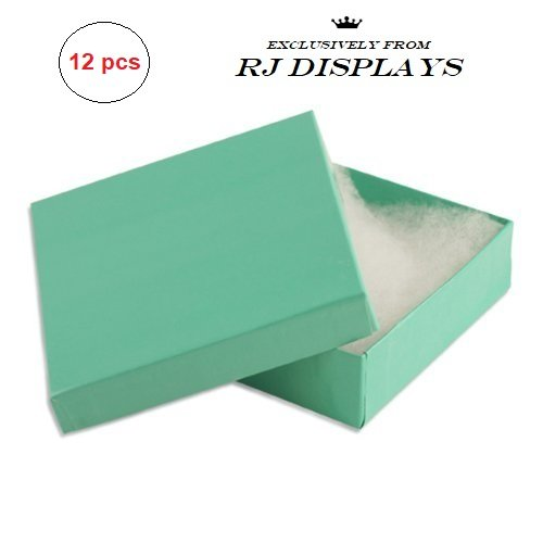 12 Pack Cotton Filled Teal Blue Robin Egg Color Cardboard Paper Jewelry Gift and Retail Boxes 3.5