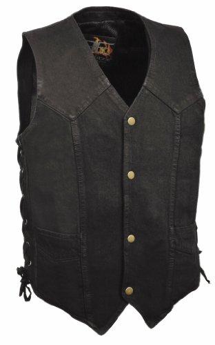 Denim Black Leather Vest - The Bikers Zone Men's 100% Cotton Side Lace Black Denim Vest 2XL (50) Black