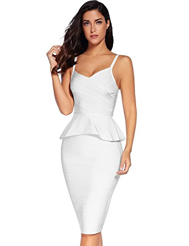 (Meilun Women Rayon Celebrity Strap Peplum Midi Bandage Skirt Set Dress Party Dress Bodycon White)