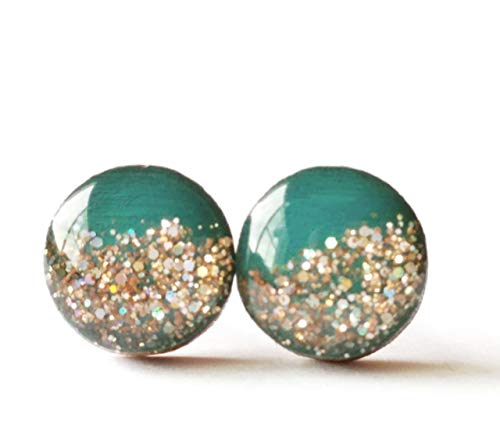(Hand painted turquoise with rose gold glitter wood stud earrings 10mm )