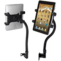 Robust Seat Bolt Tablet Car Mount Vehicle Swivel Cradle Holder for LG G Pad, Verizon Ellipsis, Google Pixel C, Samsung Galaxy Tab and More 7-10 Inch Tablets w/ Anti-vibration Goose Neck Mechanism (Use with or Without Case)